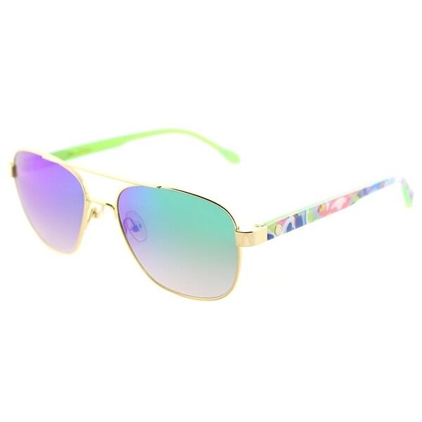 bc6ba0ba62 Lilly Pulitzer Aviator Callie GN Womens Gold Green Frame Green Mirror Lens  Sunglasses