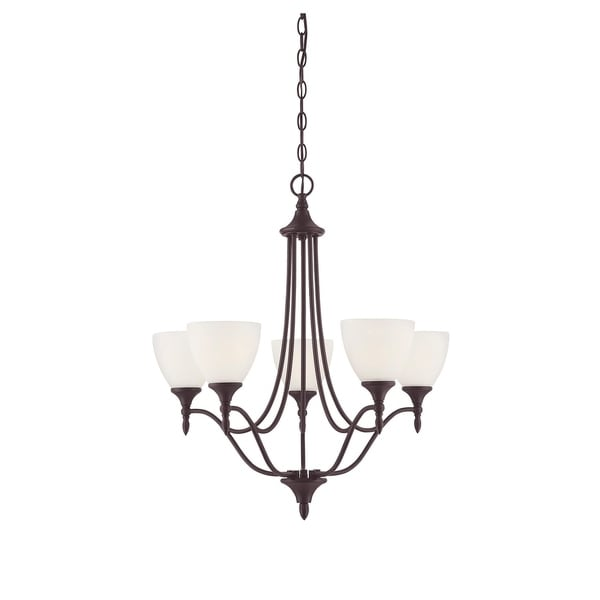 Herndon English Bronze-finished Metal 5-light Chandelier with Frosted Shades