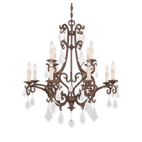 Savoy House Florence New Tortoise Shell Metal/Crystal 12-light Chandelier