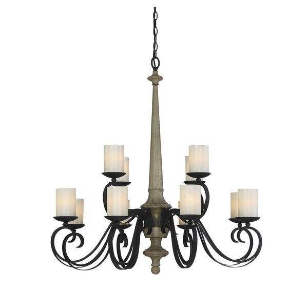 Savoy House Hamlin Metal and Wood 12-light Chandelier