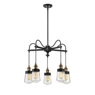 Macauley 5 Light Chandelier Vintage Black with Warm Brass - Thumbnail 0