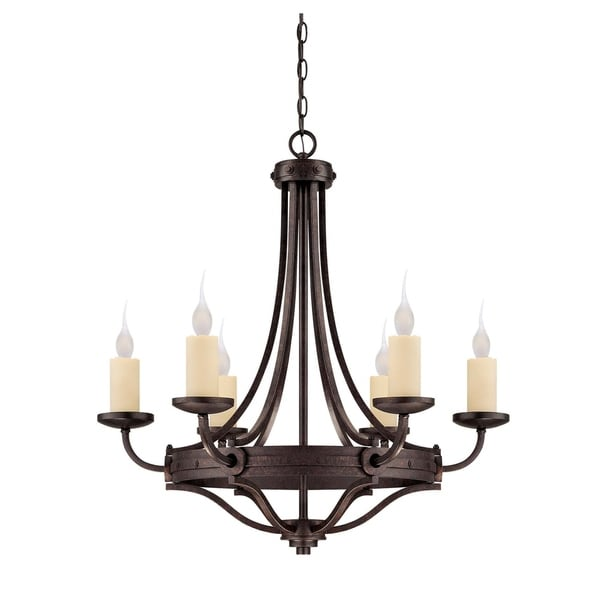 Elba 6 Light Chandelier Oiled Copper