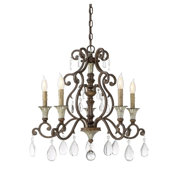 St. Laurence New Tortoise Shell/Silver-tone Metal/Crystal 5-light Chandelier