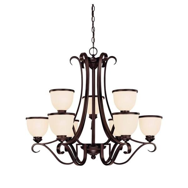 Savoy House Willoughby 9-light English Bronze Metal/Glass Chandelier