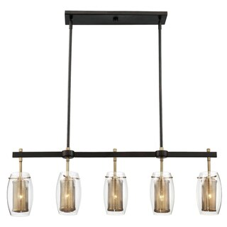 Dunbar 5 Light Trestle Warm Brass w/ Bronze accents