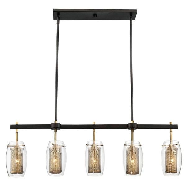 Savoy House Dunbar Brass w/Bronze Accents Metal/Glass 5-light Chandelier