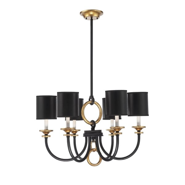 Savoy House Parkdale Matte Black with Gold Highlights 6-light Chandelier