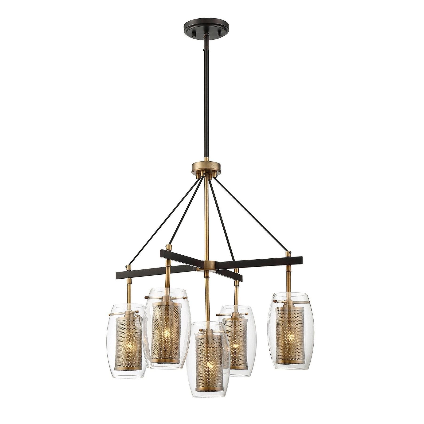 Dunbar 5 Light Pendant Warm Brass w/ Bronze accents