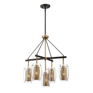 Dunbar 5 Light Pendant Warm Brass w/ Bronze accents - Thumbnail 0