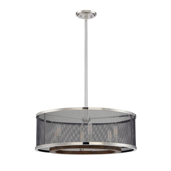 Valcour 6 Light Pendant Polished Nickel w/Graphite and Wood Accents