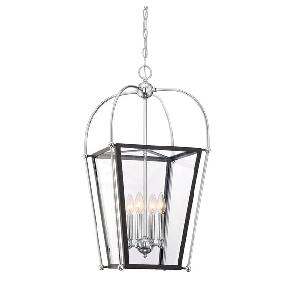 Dunbar 4 Light Foyer Pendant Matte Black w/Polished Chrome accents