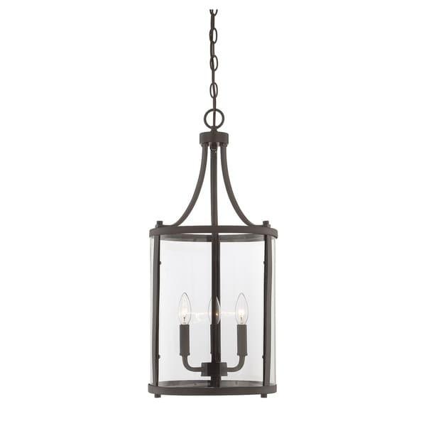 Savoy House Penrose English Bronze Metal/Glass Small 3-light Foyer Lantern