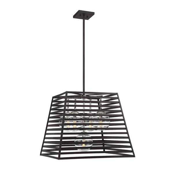 Lakewood 5 Light Indoor/Outdoor Pendant Bronze w/ Stainless Steel