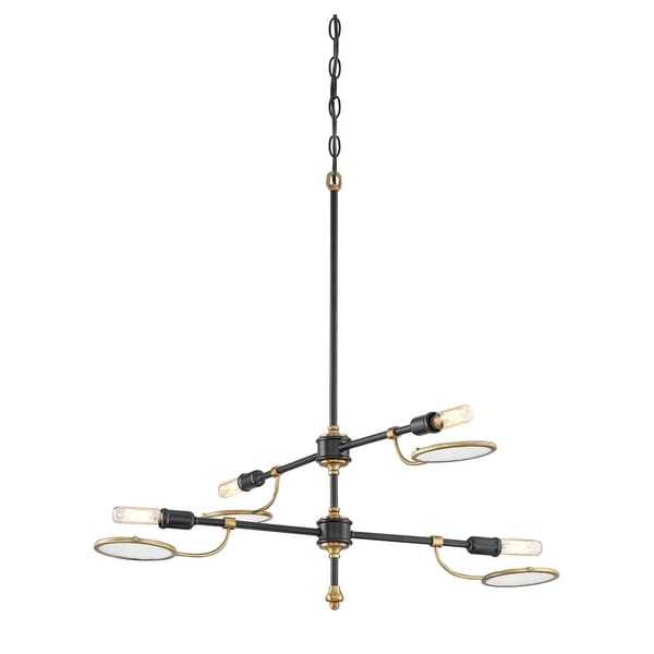 Oberyn 4 Light Chandelier Vintage Black w/ Warm Brass