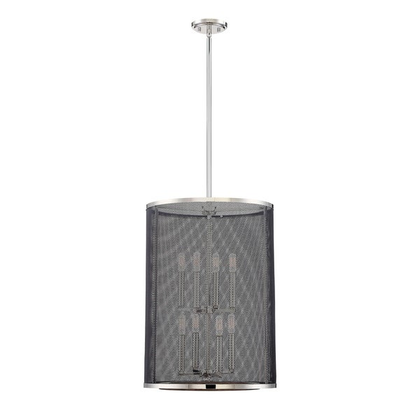 Valcour 8 Light Foyer Polished Nickel w/Graphite and Wood Accents