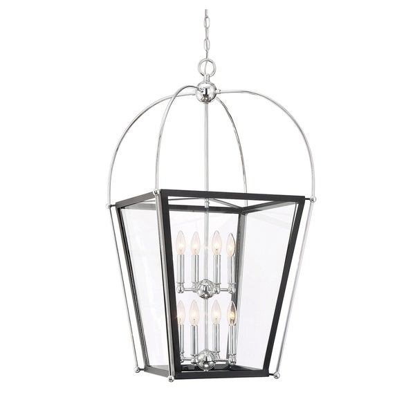 Dunbar 8 Light Foyer Pendant Matte Black w/Polished Chrome accents