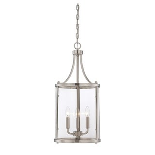Savoy House Penrose Satin Nickel-finished Metal 3-light Small Foyer Lantern with Clear Glass Shade