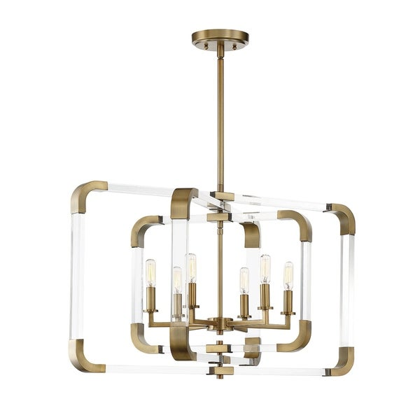 Rotterdam 6 Light Pendant Warm Brass