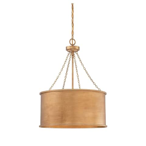 Silver Orchid Garland 4-light Goldtone Pendant Light
