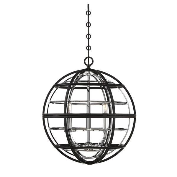 Savoy House Vega Black/ Chrome 3-light Pendant