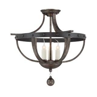Savoy House Alsace Reclaimed Wood-finish Iron 3-light Semi-flush Light