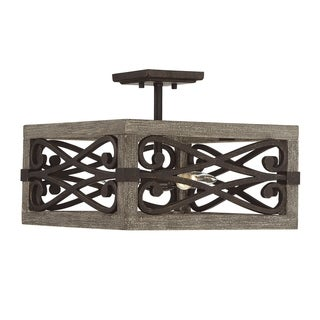 Savoy House Amador Brown Iron and Wood Convertible Semi-flushmount Pendant