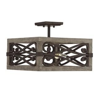 Savoy House Amador Brown Iron and Wood Convertible Semi-flushmount Pendant