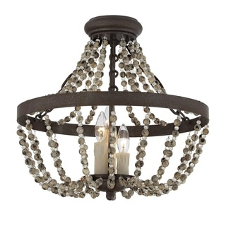 Savoy House Mallory Fossil Stone 3-light Convertible Semi Flush Mount Lighting