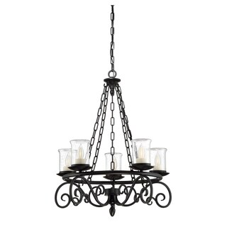 Pendant Welch Black Metal 5-light Outdoor Chandelier