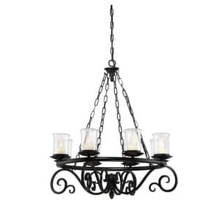 Outdoor lighting for less overstock savoy house welch black 8 light outdoor chandelier mozeypictures Images