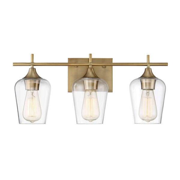 Carbon Loft Brenner Warm Brass Metal Glass 3-light Bath Bar. Opens flyout.