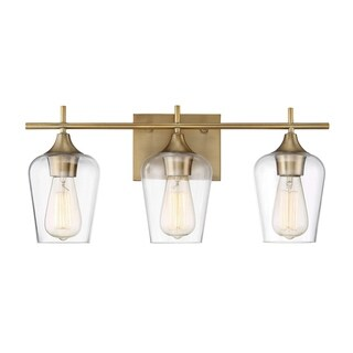 Octave Warm Brass Metal Glass 3-light Bath Bar