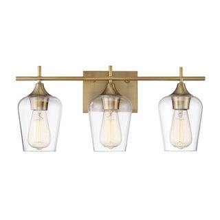 Octave 3 Light Bath Bar Warm Brass