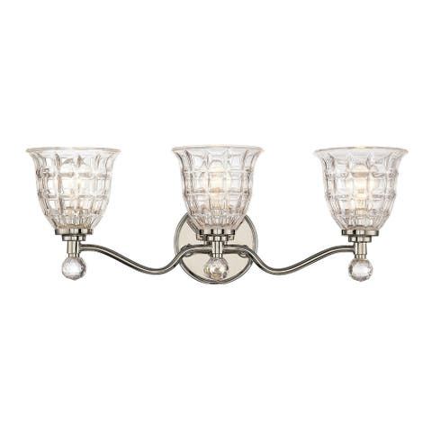 Silver Orchid Pitts 3-light Polished Nickel Bath Bar