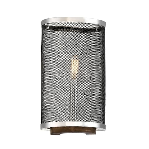 Valcor 1 Light Polished Nickel Sconce with Graphite & Wood accents