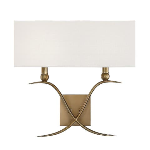 Silver Orchid Christopherson 2-light Warm Brass Sconce