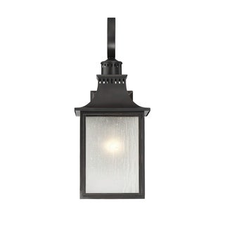 Savoy House Monte Grande Slate Cream Black Steel Glass Wall-mounted Lantern