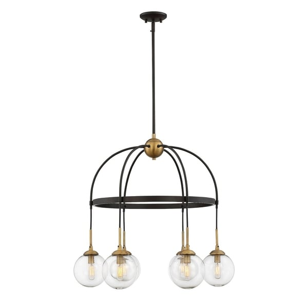 Savoy House Fulton English Bronze with Warm Brass 6-light Chandelier