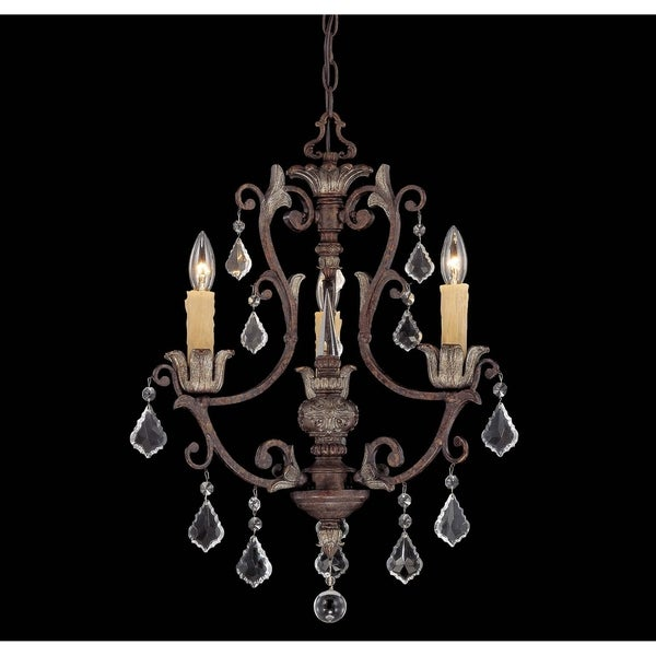 Elizabeth New Tortoise Shell w/Silver 3-light Chandelier