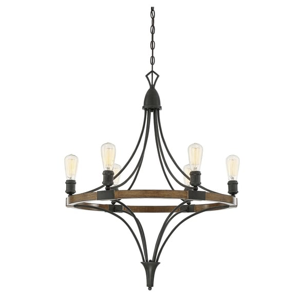 Turing 6 Light Chandelier Whiskey Wood