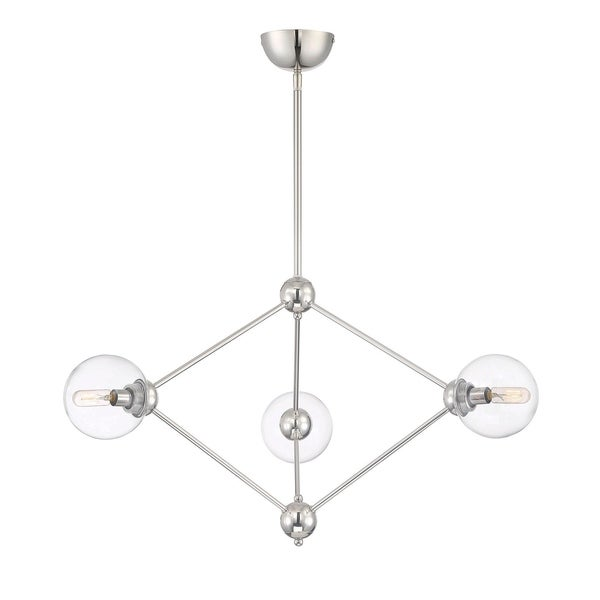 Bonn 3 Light Chandelier Polished Nickel