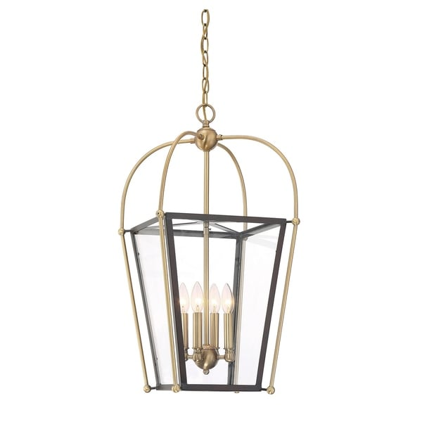 Dunbar 4 Light Foyer Pendant English Bronze w/ Warm Brass