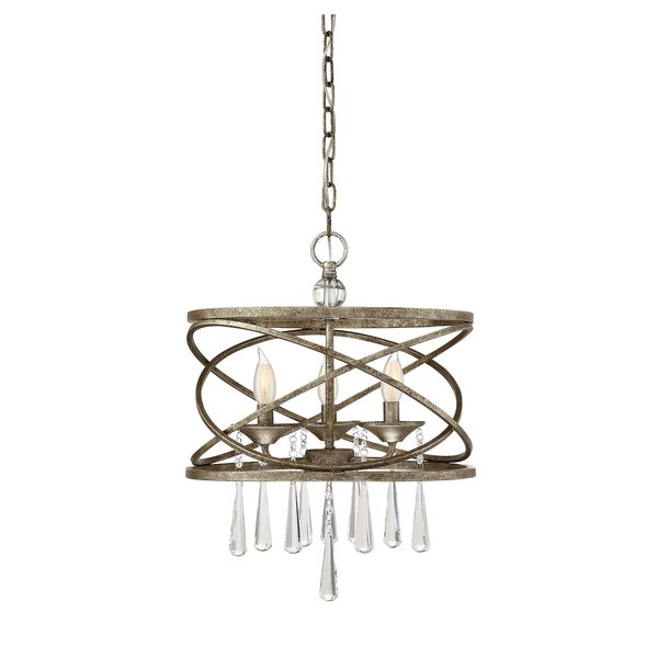 Savoy House Trumbull Brittannia Gold-finished Metal 3-light Pendant with Hanging Crystal Accents