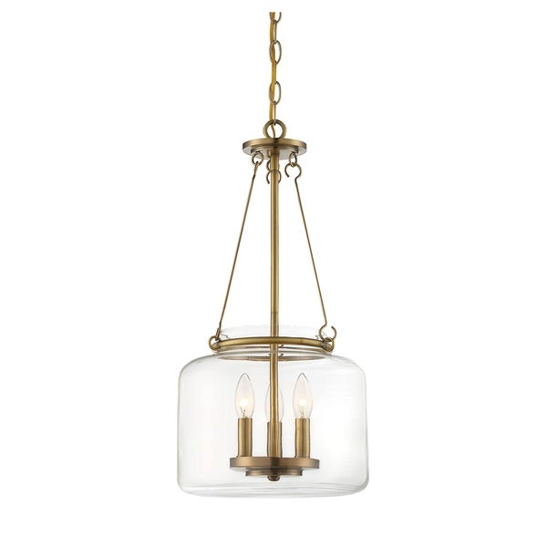 Akron 3 Light Pendant Warm Brass