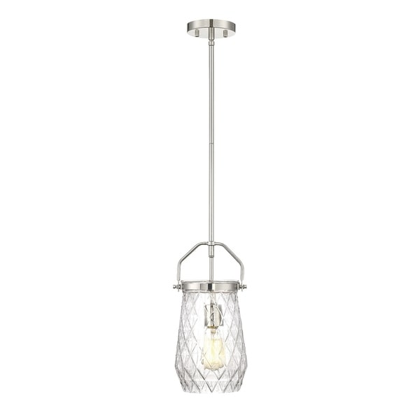Savoy House St. Clare Polished Nickel Metal/Glass 1-light Mini Pendant Light