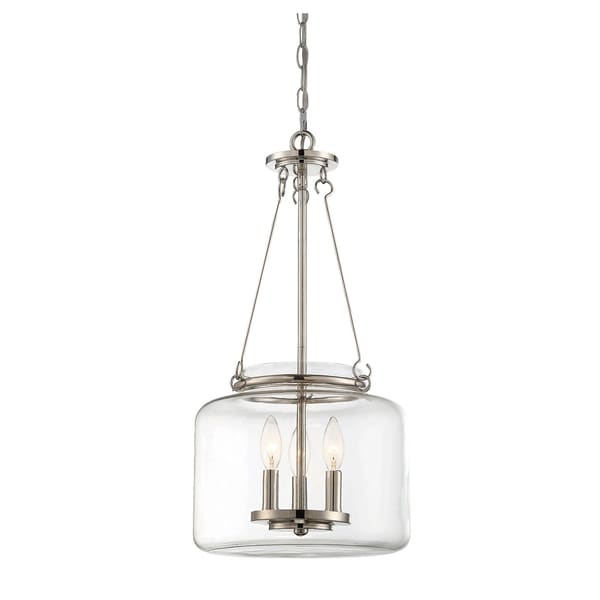 Savoy House Akron Polished Nickel-finished Metal 3-light Pendant with Clear Glass Shade