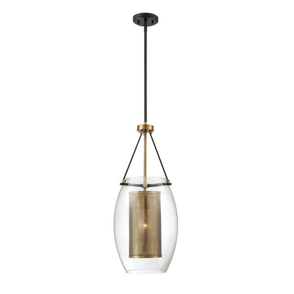 Savoy House Dunbar Warm Brass with Bronze Accents Metal Single-light Pendant