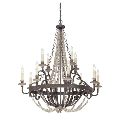 Mallory 12 Light Chandelier Fossil Stone