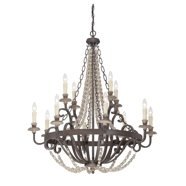 Savoy House Mallory Fossil Stone 12-light Chandelier