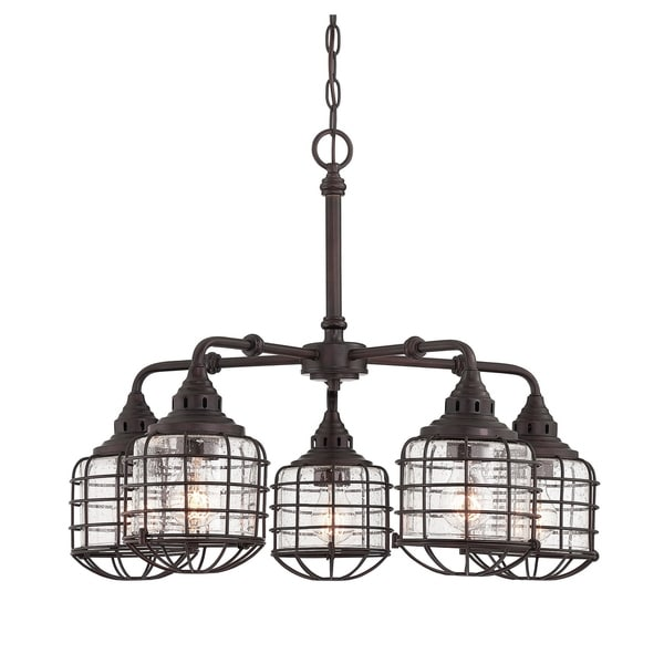 Savoy House Connell English Bronze-finished 5-light Chandelier with Clear Seeded Glass Shades